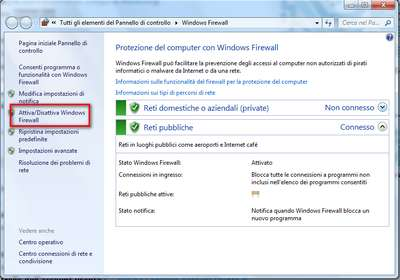 Configurare Firewall Windows